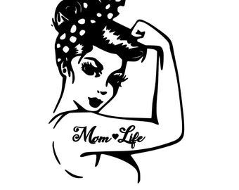 "Rosie ""Mom Life"" Vinyl Decal, Mom Life Decal, Laptop Decal, Yeti Decal, Rosie Riveter Pinup, Personalized Vinyl Decal"