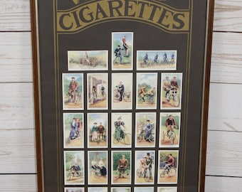 Framed & Glazed Players Part Set 25 x 1939 Cycling Cigarette Cards - Transport History, British Bicycles