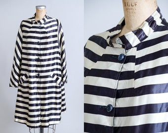 1950s Striped Swing Coat Black and White Jailbird Satin Reversible Button Down Jacket