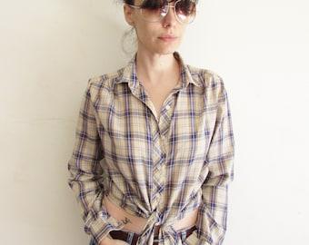 Vintage Womens 70s Large Thin Plaid Western Shirt