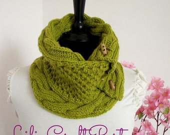 KNITTING PATTERN COWL Alice Cowl Pattern - Scarf Cowl with Buttons pdf pattern Instant Download Knitting Cowl tutorial woman patterns