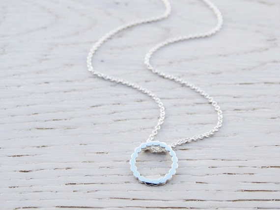 Tiny Silver Circle Dot Necklace