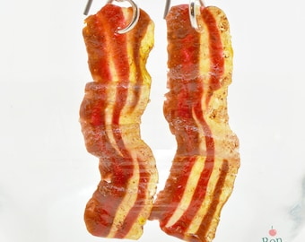 Bacon Earrings, Polymer Clay Food Jewelry, Fake Food Earrings, Bacon Jewelry, Hypoallergenic Hanging Earrings, Breakfast Jewelry