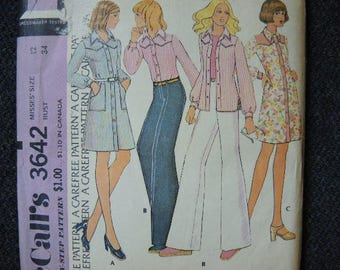vintage 1970s McCalls sewing pattern 3642 misses dress or shirt and pants size 12