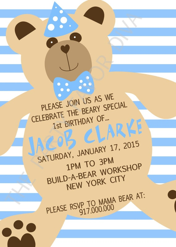 Bear Inspired Invitation Build a Bear Invitation Girl Bear