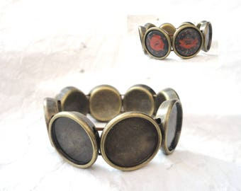 bronze 5 bangles plastic cabochons, cameos, to decorate, for 20 mm cabochons.