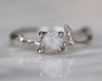 1.25 Carat Uncut Diamond Branch Enagagement Ring, 14k White Gold