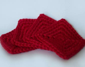 Square Crochet Coasters, Set of 4/Red/Classic/Christmas
