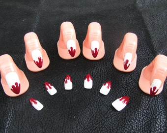 Vampire Fang Blood Drip Acrylic Nail Art