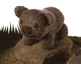vintage knit pattern Australian Wombat Toy to knit instant download knitting pattern