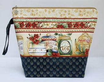 Large Project Bag, Knitting Project Bag, Crochet Project Bag, Cross Stitch Project Bag, Sweater Project Bag, AFTERNOON TEA