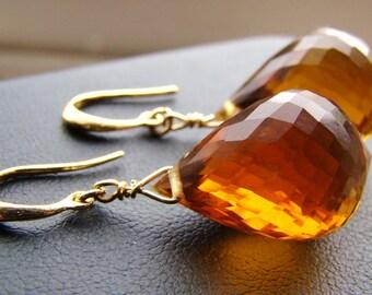 Madeira Citrine Gold Earrings.  Brown citrine dangles.  Luxury Large AAAA Stones