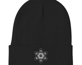 Sacred Geometry Beanie Minimalist Beanie Abstract Art Beanie