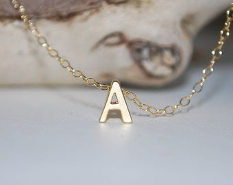 Initial necklace, tiny letter necklace, gold letter necklace, dainty jewelry, gold letter necklace, Mommy necklace