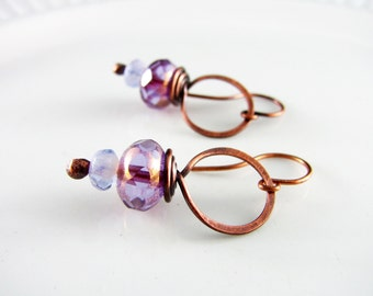 Wire Wrapped Earrings Copper Jewelry Amethyst Earrings Wire Wrapped Jewelry Copper Earrings Hoop Earrings