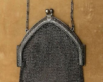 A Sterling Art Deco Chainmail Evening Bag