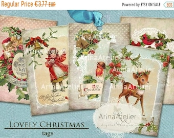 SALE 40% OFF - Lovely Christmas Tags - Digital Collage Images - Digital Vintage Images - Collage Christmas Hang tags - digital collage sheet