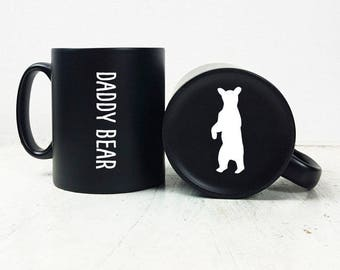 Carved Daddy Bear Mug-First Time Dad-Daddy Bear Gift-Gift for Dad-Father's Day Gift-Gift for Fathers Day-Mug Gift-Father's Day Gift for Dad