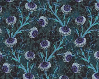 Pastiche, In the Beginning Fabrics, Jason Yenter, Bachelor Buttons in Turquoise
