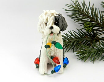 Old English Sheepdog Porcelain Christmas Ornament with Lights