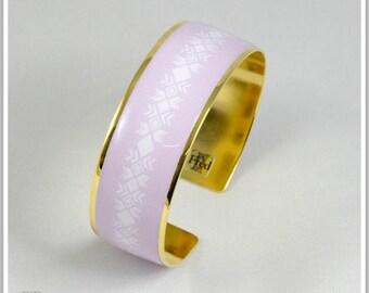2 cm gold plated 24 k Inka Maria light pink Cuff Bracelet