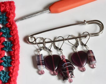 Purple knitting stitch markers, holders, keepers - 5 markers  - ready to ship