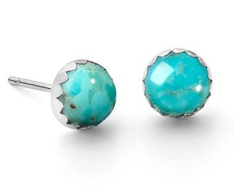 Sterling Silver Turquoise Gemstone Stud Earrings, Birthstone Studs, Simple Silver Earrings, Turquoise Jewellery, Tiny Earrings