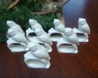 Set 8 White Bone China Owl Napkin Rings    (T)