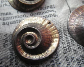 Nautilus Spiral Brass Ox Stampings Charms Pendants 34mm 4 Pcs
