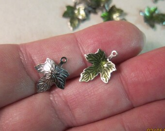 13x12mm, Spring Green Enamel on Silver-Plated Brass, Maple Leaf Charms - Available in 6, 10 & 20 Charm Pkgs and also in Larger Pkgs