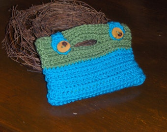 Tea Leaf & Turquoise Handmade crochet boho make up overnight pencil feminine pouch coupon bag rustic Thorn Tree Branch buttons shabby blue