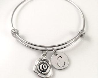 Personalized Mom's bracelet,  Rose charm Bracelet, flower Charm bracelet, for her,  anniversary gift, birthday gift, adjustable bangle