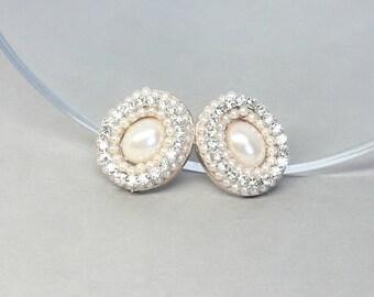 Rose Gold Bridal Earrings- Rose Gold Earrings- Rose Gold Bridesmaid Earrings- Rhinestone Posts- Gold Bridal Earrings- Pearl Bridal Earrings