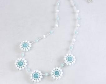 White flower necklace, elegant, wedding jewelry, snow flower, gift for her, 375-2