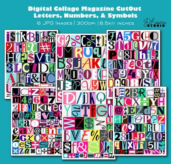 Digital Collage Sheet Printable Magazine Cutout Alphabet Letters