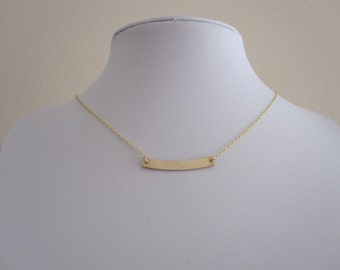 Sideways curved BAR yellow gold necklace, simple, minimalistic, geometric jewelry necklace