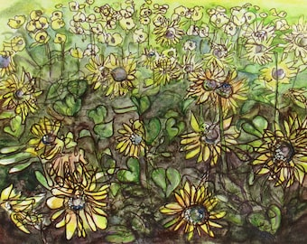 Sunflower Field - Original Watercolor and Acrylic Painting on Paper