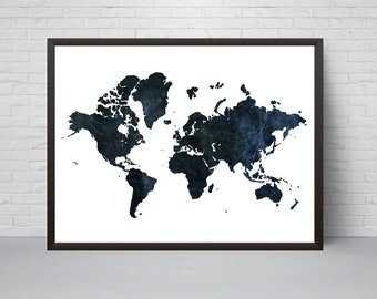 Navy world map etsy world map print wall art navy prinatble world map poster home decor gumiabroncs Image collections