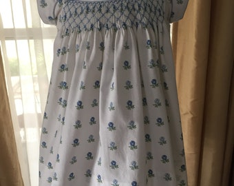 Gorgeous Blue and White Hand smocked dress - Sample Sale Priced