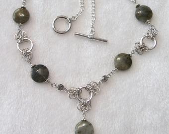 Labradorite and Swarovski Necklace  N-056