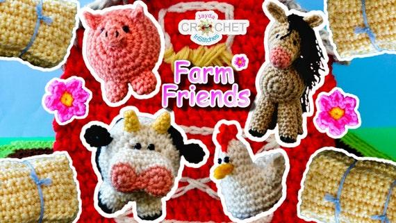 8 Crochet Patterns E Book Farm Friends Play Set Barn