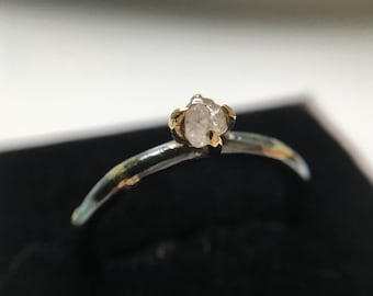 Rough diamond alternative engagement ring