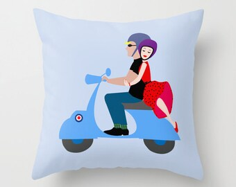 Blue motorcycle pillow cover-Scooter-Floor pillow-Pop art pillow-Love-Valentines-Cool retro pillow-Sixties cushion-Modern-16x16-18x18-20x20