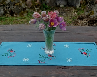Vintage hand embroidered doily table runner small tablecloth  table topper Christmas tablecloth