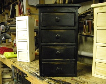 ON SALE Small Four drawer black distressed wall hanging or freestanding apothecary cabinet