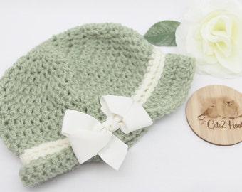 Crochet Beanie, Size 12 mths, Newborn Beanie, Baby Hat, Toddler Beanie, Olive, Cream, Bow