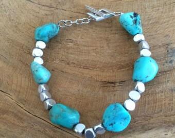 Turquoise Bracelet   Thai Karen Hill Tribe Silver Bracelet   Gemstone Bracelet   Bohemian Bracelet