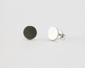 Circle Studs // solid sterling silver / hand fabricated petite delicate tiny disk earrings // Simple Geometry from Mod Evil