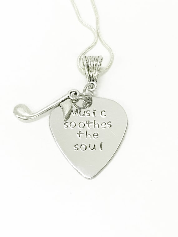Music Soothes the Soul Pendant on Silver Necklace, Musician Jewelry, Music Lover Jewelry, Musician Gift Jewelry, Music Gift For Her