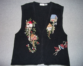 Birds of a Feather Flock Together Bird Sweater Vest Button Up Ugly Christmas Party Tacky Gaudy X-Mas Holiday Winter Warm XL Extra Large